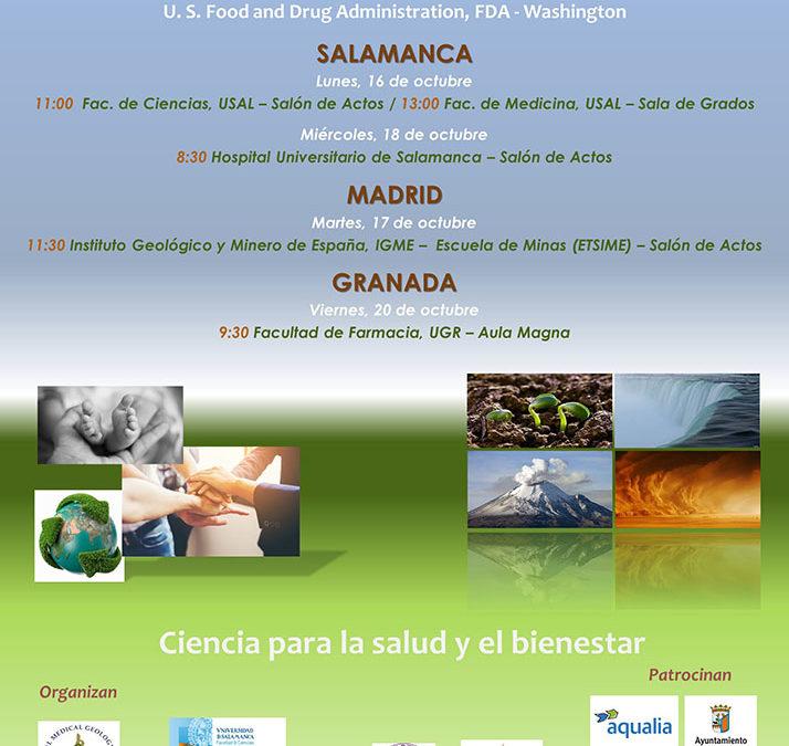 II Jornadas de Geología Médica en España. Ciencia para la salud y el bienestar. Salamanca, Madrid, Granada. Octubre 2017.